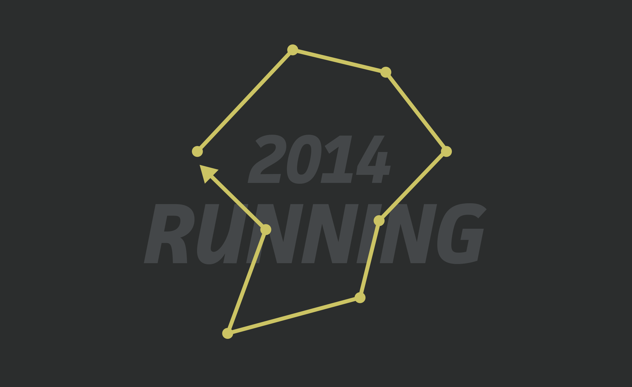 The logo for my 2014 Running website project representing exploratory running routes.