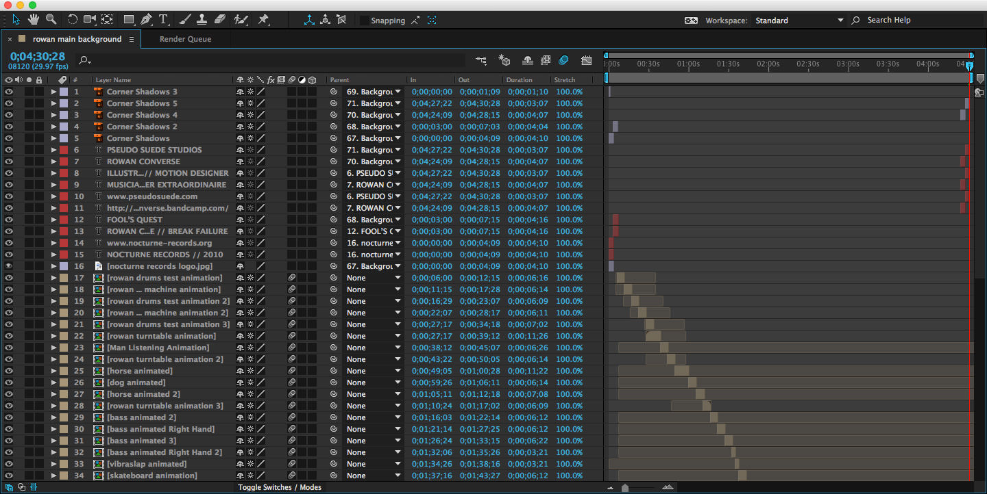 An screen capture of the After Effects project keyframes used to create the animation.