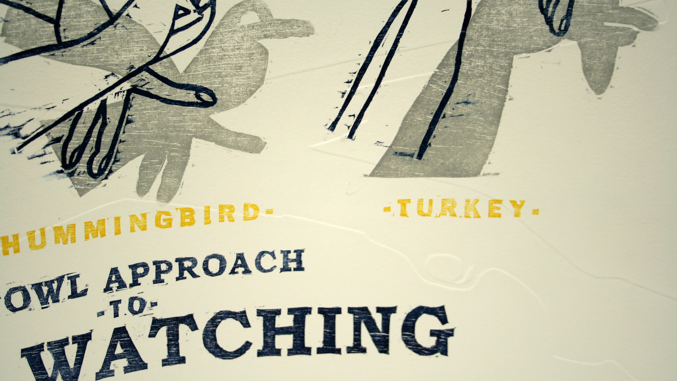 Poster image showing the Fowl Approach to Bird Watching print being held.
