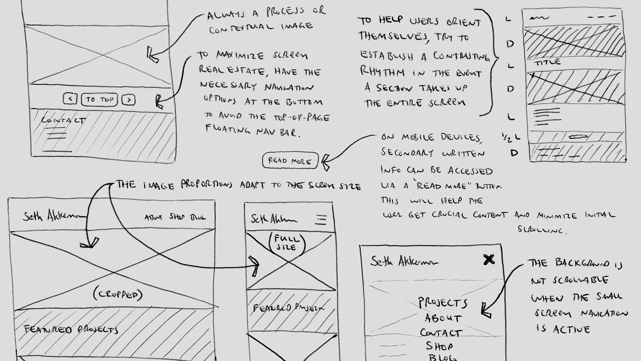 Poster image showing sketches of what would eventually become my new portfolio website.