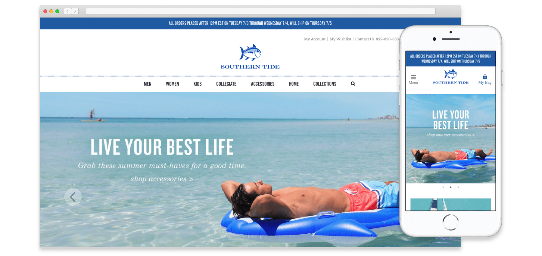 A mockup of the Southern Tide website on desktop and mobile sizes.