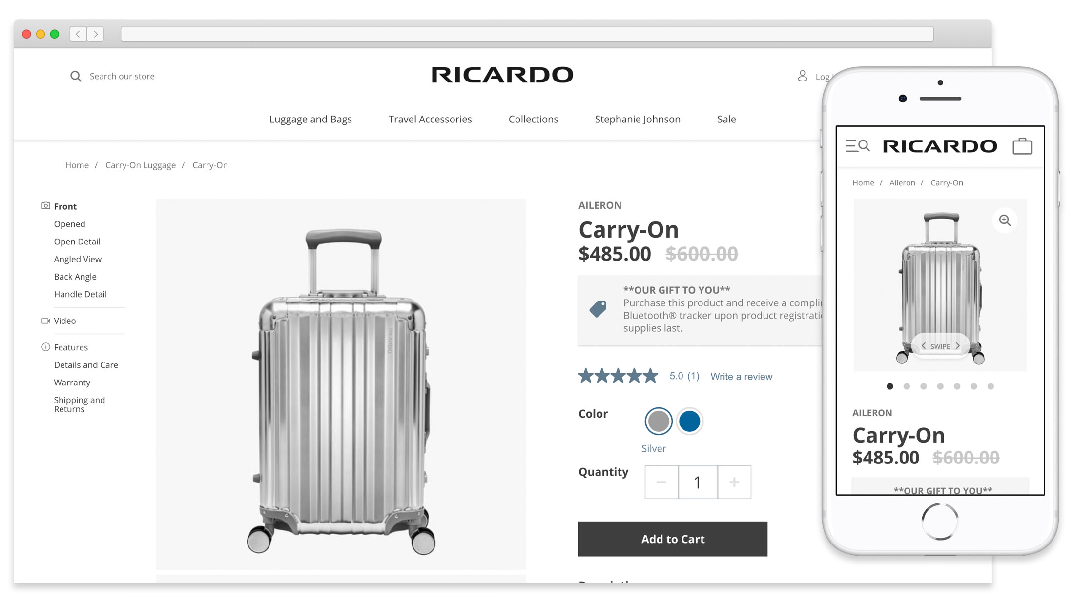 A mockup of the Ricardo Beverly Hills website on desktop and mobile sizes.