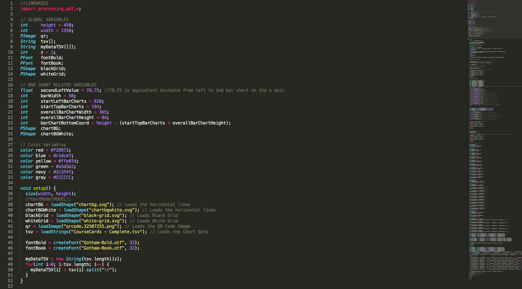 An images showing a portion of the processing code in Sublime Text.